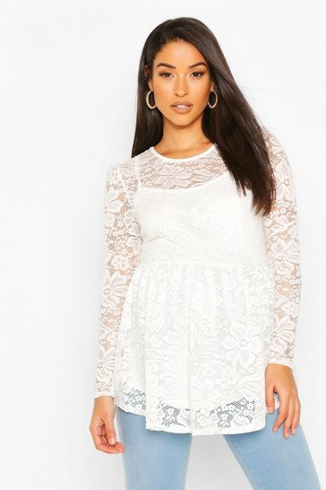 White Maternity Lace Peplum Top