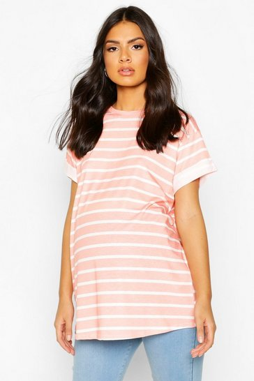 Pink Maternity Short Sleeve Stripe T-Shirt