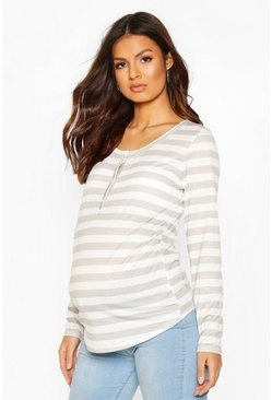 Grey Maternity Striped Nursing Top