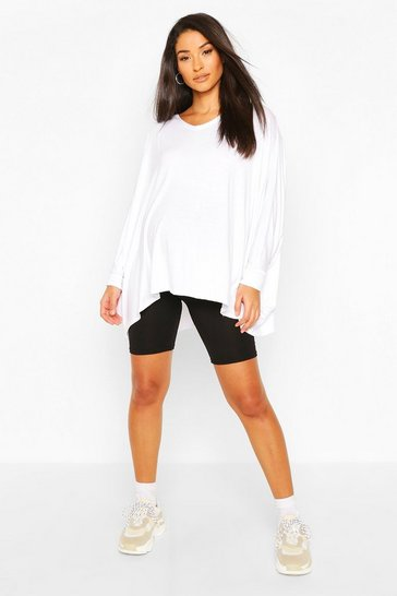 White Maternity Oversized Batwing Sleeve Top