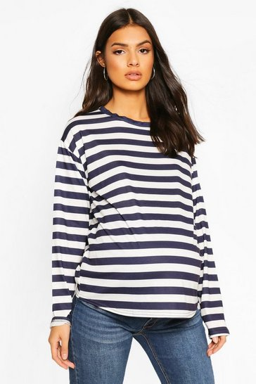 Navy Maternity Long Sleeve Stripe Top