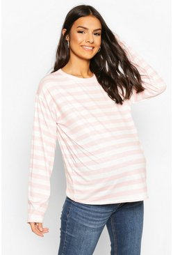 Pink Maternity Long Sleeve Stripe Top