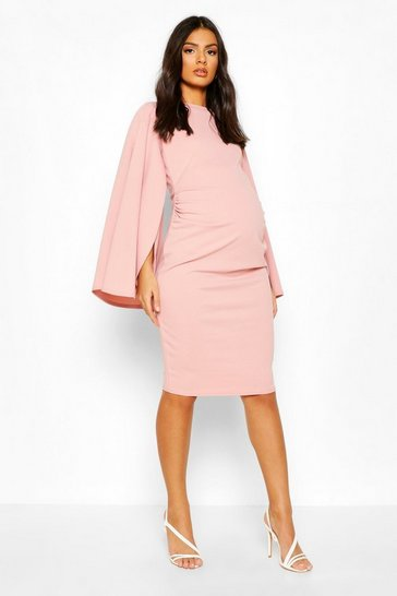 Blush Maternity Slit Sleeve Midi Bodycon Dress