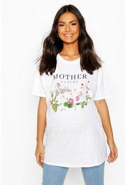 White Maternity Mother Nature Slogan Tee