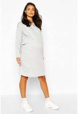 Grey marl Maternity Nursing Loopback Sweat Dress
