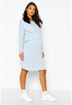 Pale blue Maternity Nursing Loopback Sweat Dress