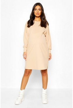Camel Maternity Oversize Side Split Dress