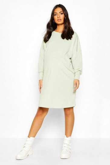 Sage Maternity Oversize Side Split Dress