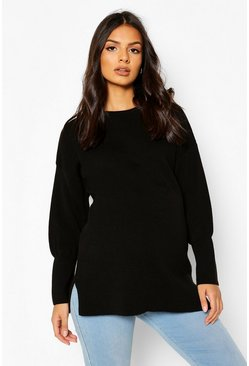 Black Maternity Oversized Balloon Sleeve Jumper