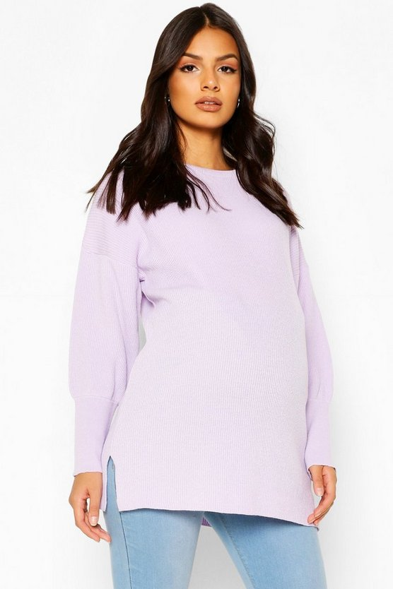 Lilac Maternity Oversized Balloon Sleeve Jumper