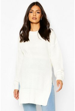 Cream Maternity Side Split Crew Neck Jumper