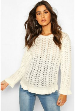 Cream Maternity Crochet Knit Jumper