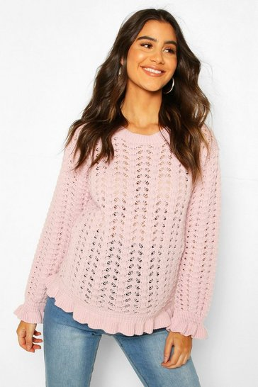 Pink Maternity Crochet Knit Jumper