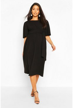 Black Maternity Tie Waist Angel Sleeve Skater Midi Dress
