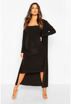 Black Maternity Heavyweight Slinky Bodycon Co-ord Set