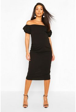 Black Maternity Bardot Puff Sleeve Midi Dress