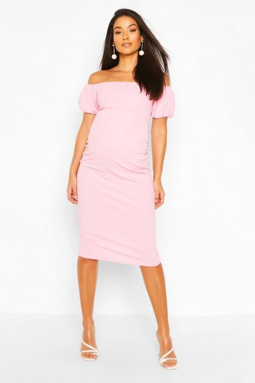 Cradle pink Maternity Bardot Puff Sleeve Midi Dress