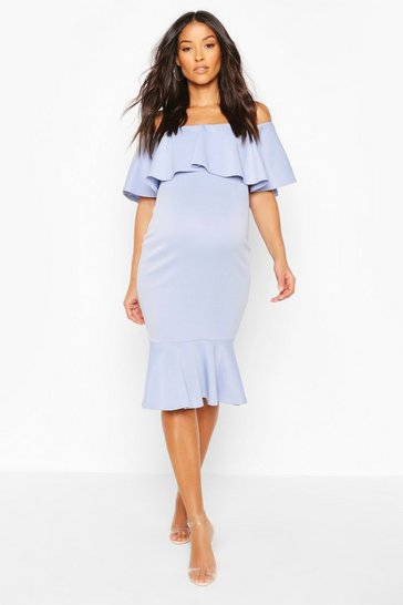 Celestial blue Maternity Frill Bardot Midi Dress