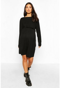 Black Maternity Long Sleeve Nursing Smock Dress