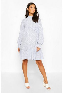 Blue Maternity Ditsy Floral Smock Dress