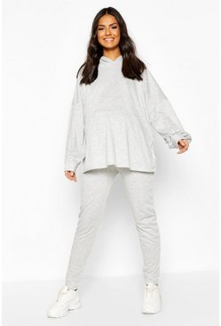 Light grey Maternity Balloon Sleeve Hooded Lounge Set