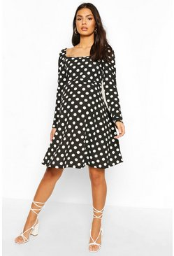 Black Maternity Rouched Sleeve Polka Dot Skater Dress