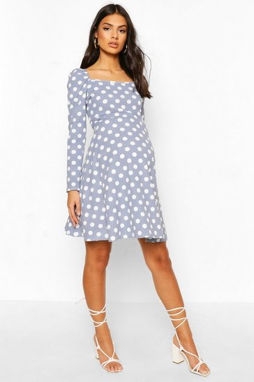 Blue Maternity Rouched Sleeve Polka Dot Skater Dress