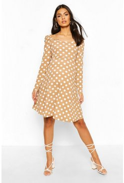 Mocha Maternity Rouched Sleeve Polka Dot Skater Dress