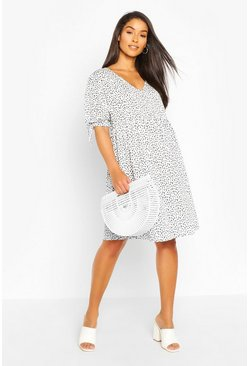 White Maternity Smudge Print Smock Dress