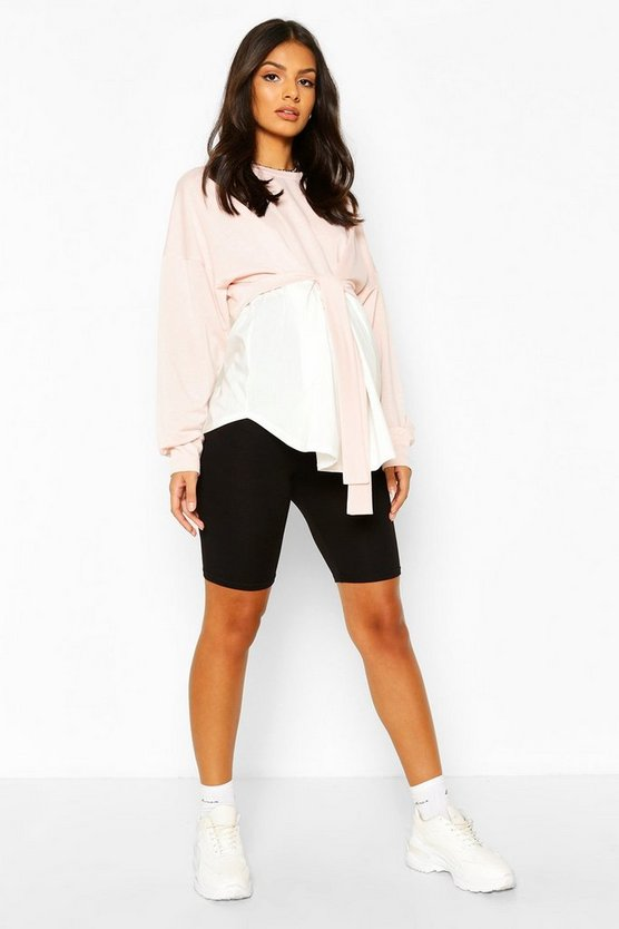 Dusky pink Maternity Sweat Smock Tunic Top