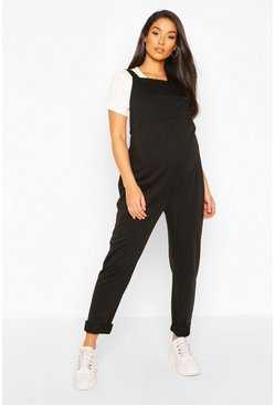 Maternity Pocket Detail Pinafore Dungaree, Black