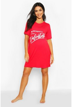 Red Maternity Mommys Valentine Nightie
