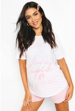 "Umstandsmode Pyjama-Set mit Shorts mit ""Thank You Cupid""-Print, Weiß"
