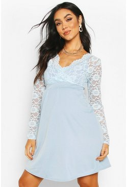 Light blue Maternity Lace Sleeve Skater Dress