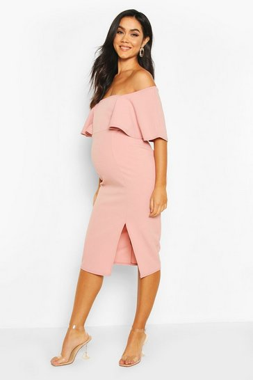 Rose Maternity Frill Front Midi Dress
