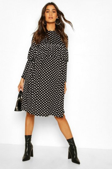 Black Maternity Polka Dot Ruffle Smock Dress