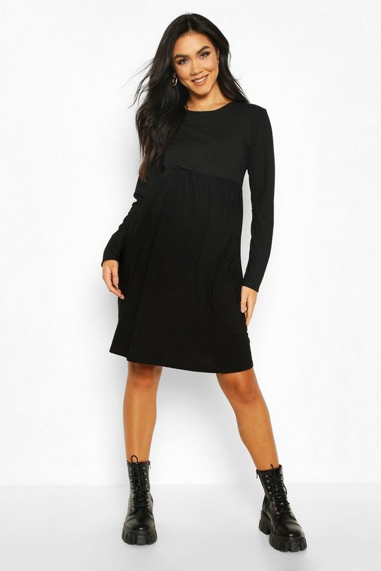 Black Maternity Contrast Rib Skater Dress