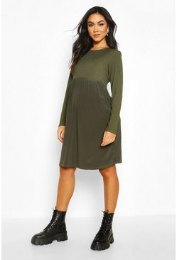 Sage Maternity Contrast Rib Skater Dress
