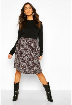 Black Maternity Ditsy Floral Sweat Dress