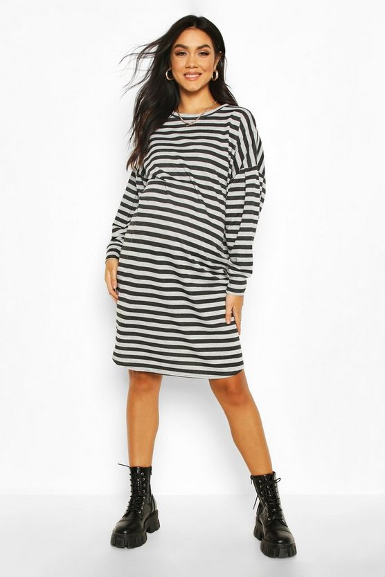 Light grey Maternity Balloon Sleeve Stripe Sweat Dress