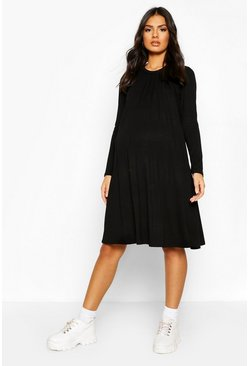 Black Maternity Nursing Swing Dress