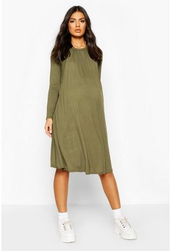 Khaki Maternity Nursing Swing Dress