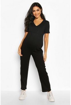 Black Maternity Slouchy Jumpsuit