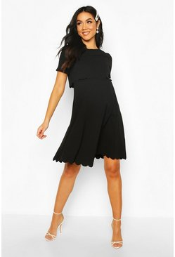 Black Maternity Double Layer Scallop Skater Dress