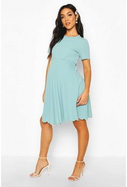 Blue Maternity Double Layer Scallop Skater Dress