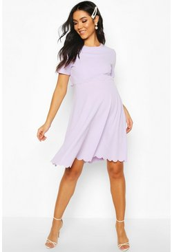 Lilac Maternity Double Layer Scallop Skater Dress
