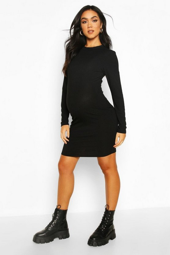 Black Maternity Crew Neck Basic Bodycon Dress