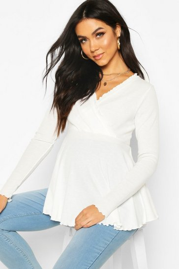 Cream Maternity Rib Wrap Lettuce Hem Peplum Top