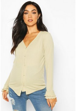Sage Maternity Rib Button Front Lettuce Hem Top
