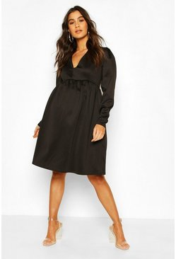 Black Maternity Occasion Smock Dress